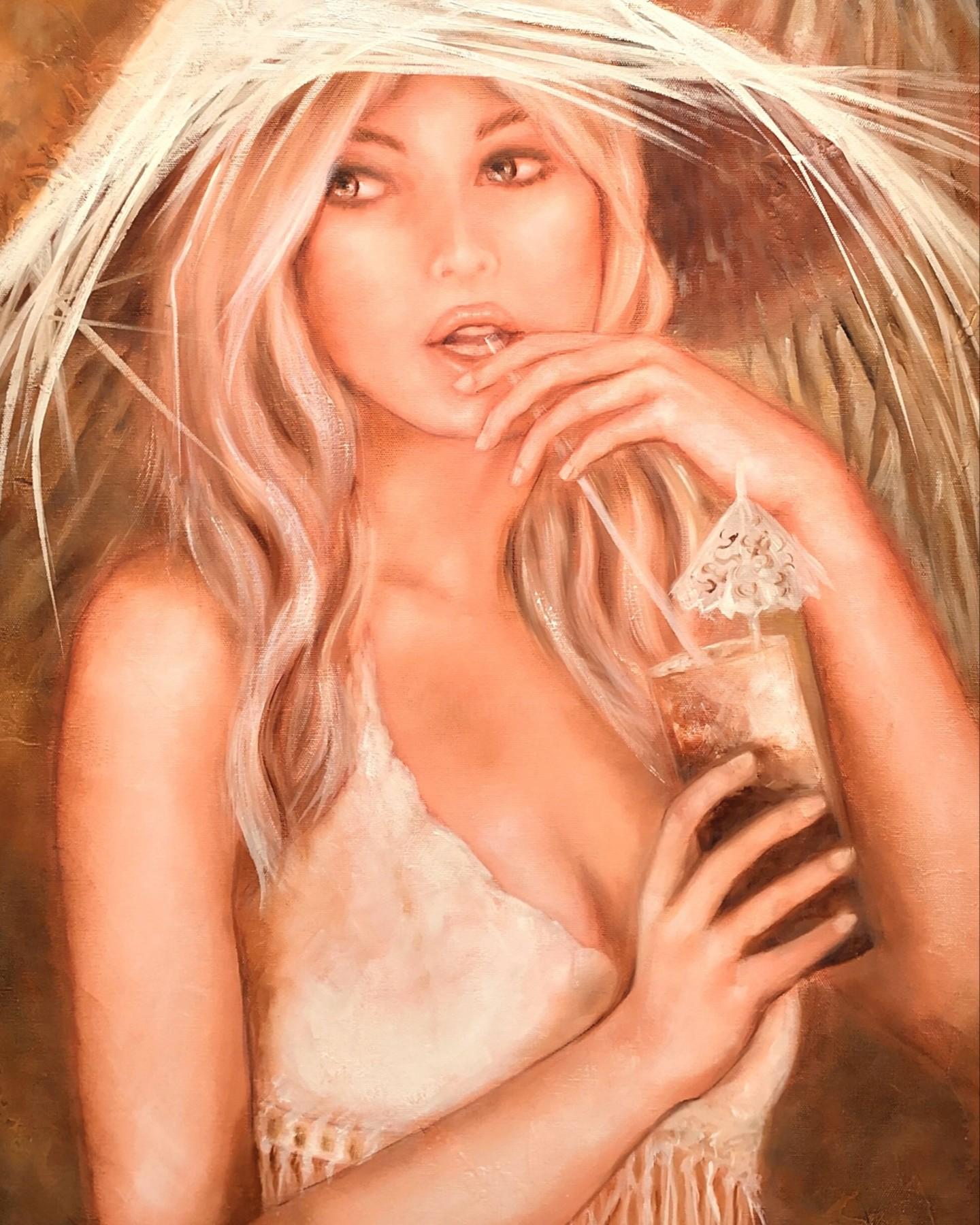 Martine Gregoire - Belle au chapeau blanc