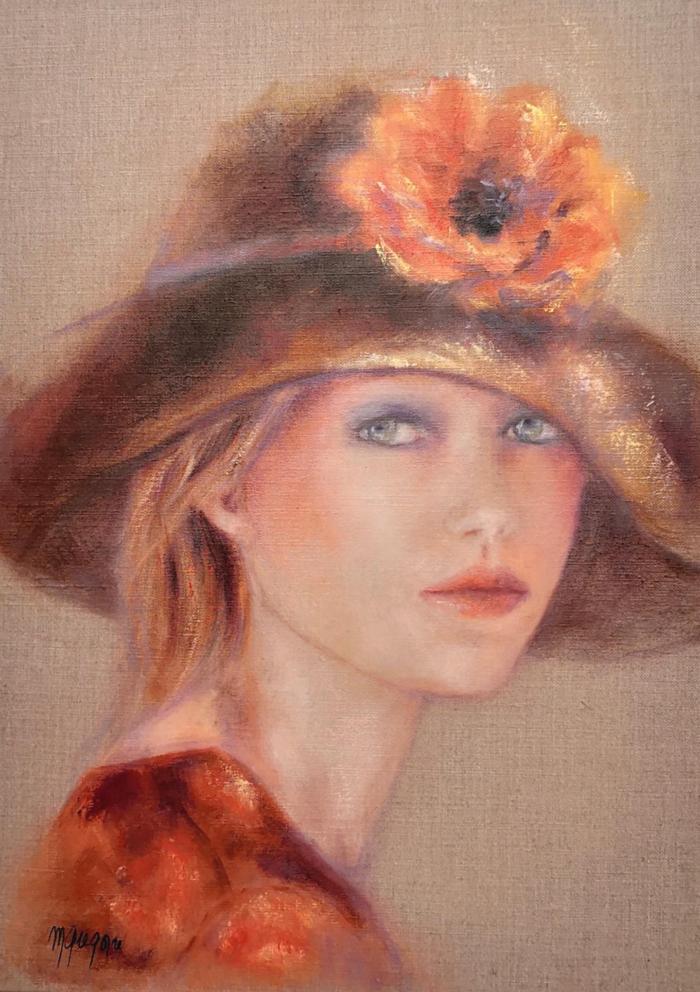 Martine GREGOIRE - Chapeau et fleur orange