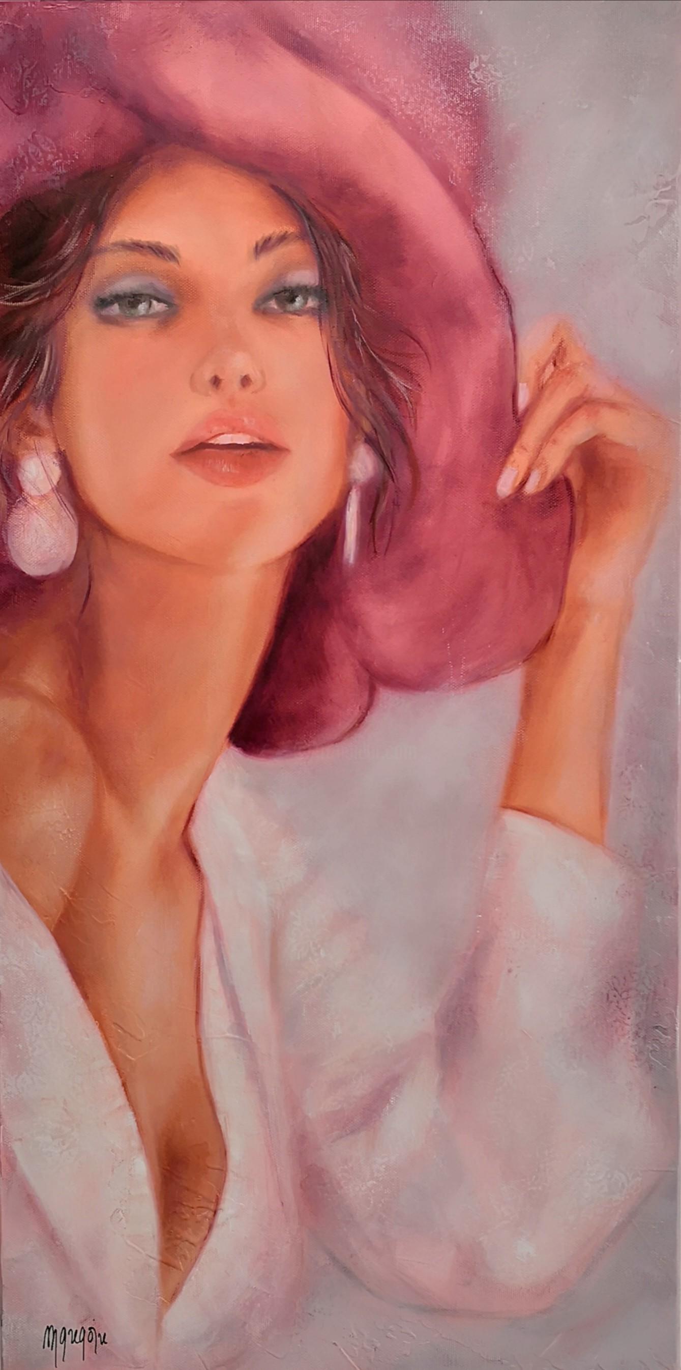 Martine Gregoire - Élégante au chapeau rose